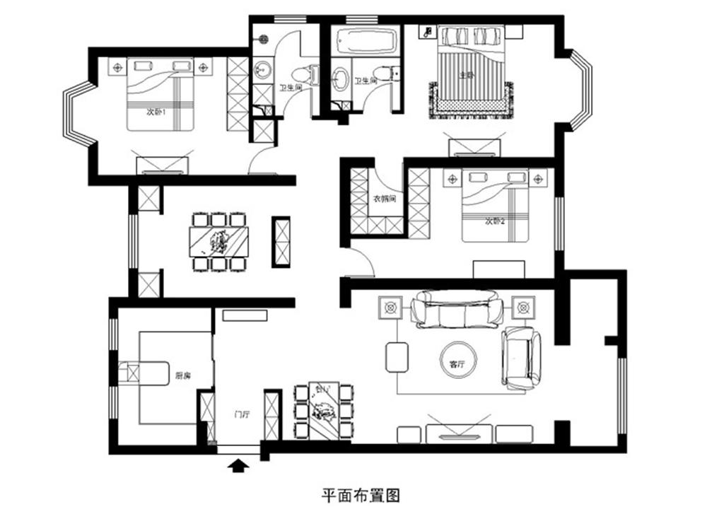 美式新古典 三居室设计 收纳 小资 户型图图片来自上海实创-装修设计效果图在120平米高贵典雅,美式新古典的分享