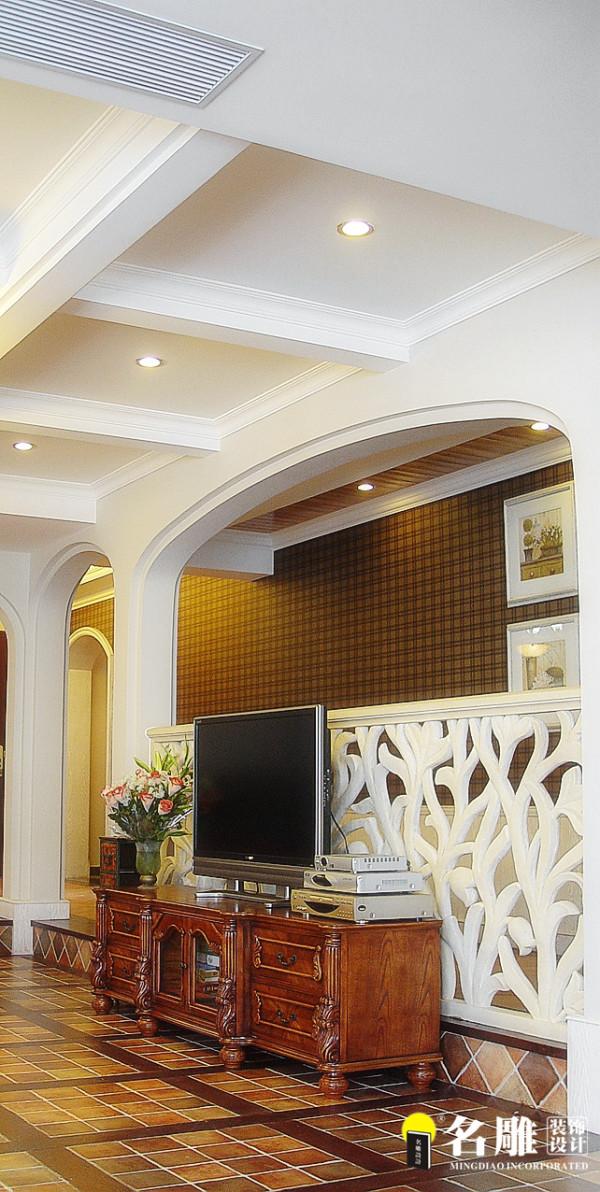 名雕装饰设计-中信红树湾三居室-地中海风格客厅电视背景