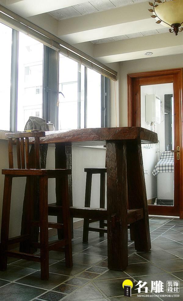 名雕装饰设计-中信红树湾三居室-地中海风格实木桌