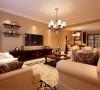 设计理念:客厅整体突显出一种豪华大方的贵族气息,大面积的地毯搭配着造型优雅而舒适的美式沙发。温暖的色调,白色的灯光,更显家的温馨。