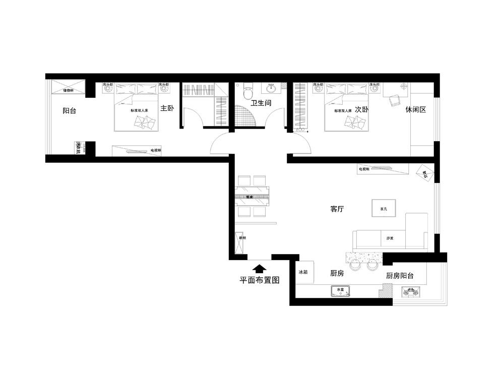 简约 二居 客厅 卧室 105平装修 装修报价 户型图图片来自实创装饰都琳在8.5万元打造105平米温馨三口之家的分享