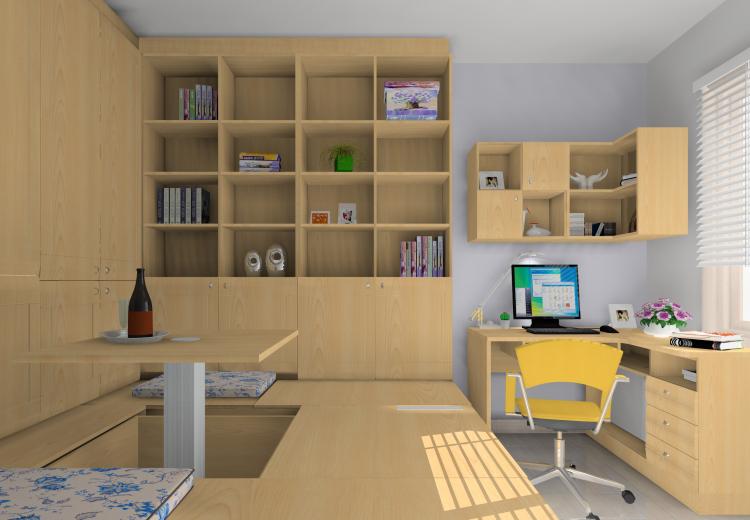 书房图片来自沙漠雪雨在长滩壹号138平田园风格3居的分享