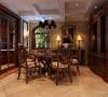 餐厅-舌尖上的芭蕾 圆形图案的地砖与餐桌想照应,墙面与椅子的纹理相互融合,一点也不张扬的空间是那么的令人神往。