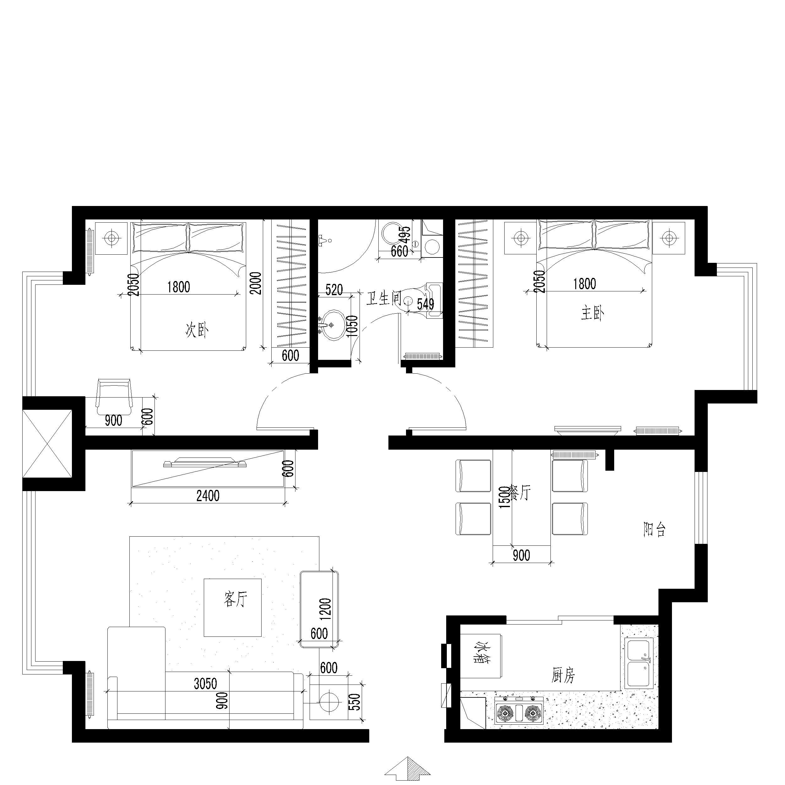 简约 欧式 田园 混搭 二居 三居 白领 收纳 旧房改造 户型图图片来自实创装饰集团-家装部在朝阳150平米简约婚房的分享