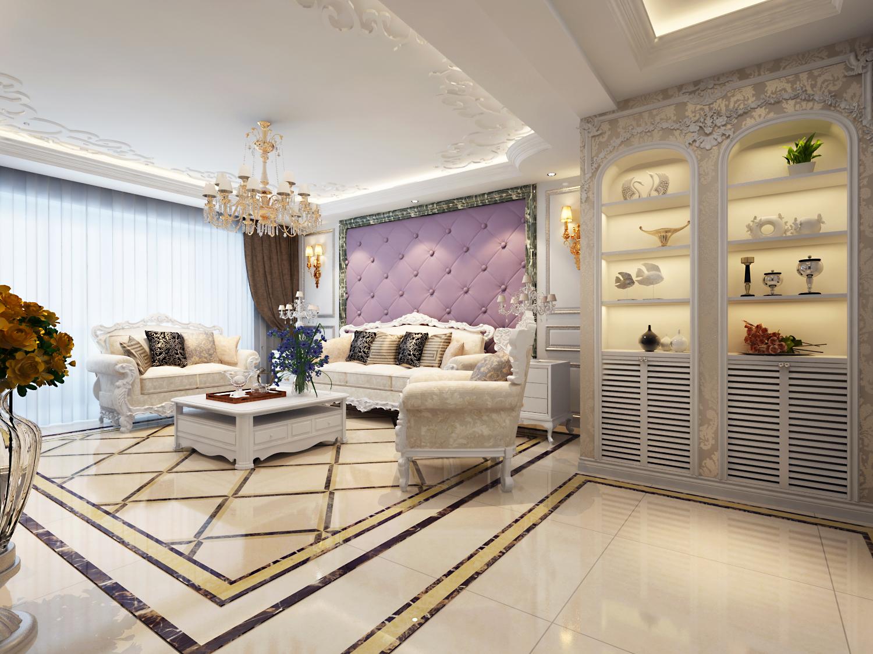 简约 欧式 三居 收纳 80后 客厅图片来自武汉实创装饰在银灰色调演绎公务员小区简欧居室的分享