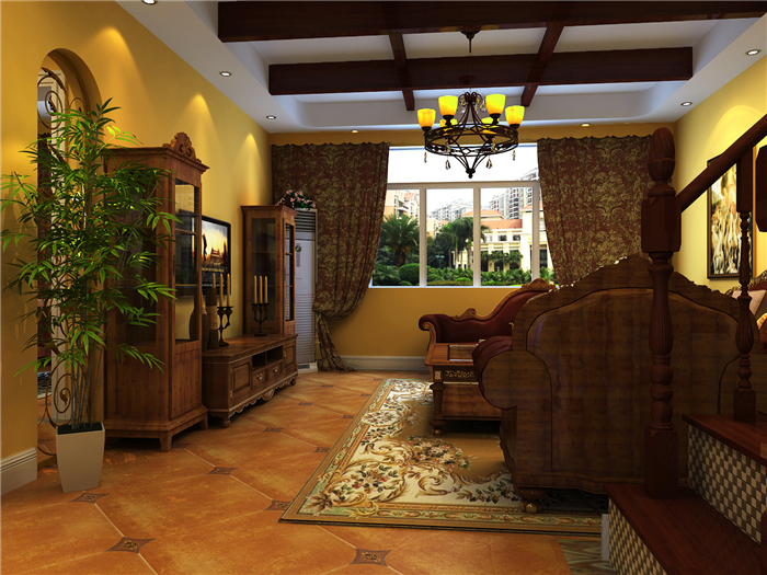 复式 4居室 美式风格 别墅 高贵 客厅图片来自实创装饰晶晶在142平复式4房美式的奢侈与贵气的分享