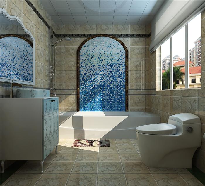 复式 4居室 美式风格 别墅 高贵 卫生间图片来自实创装饰晶晶在142平复式4房美式的奢侈与贵气的分享