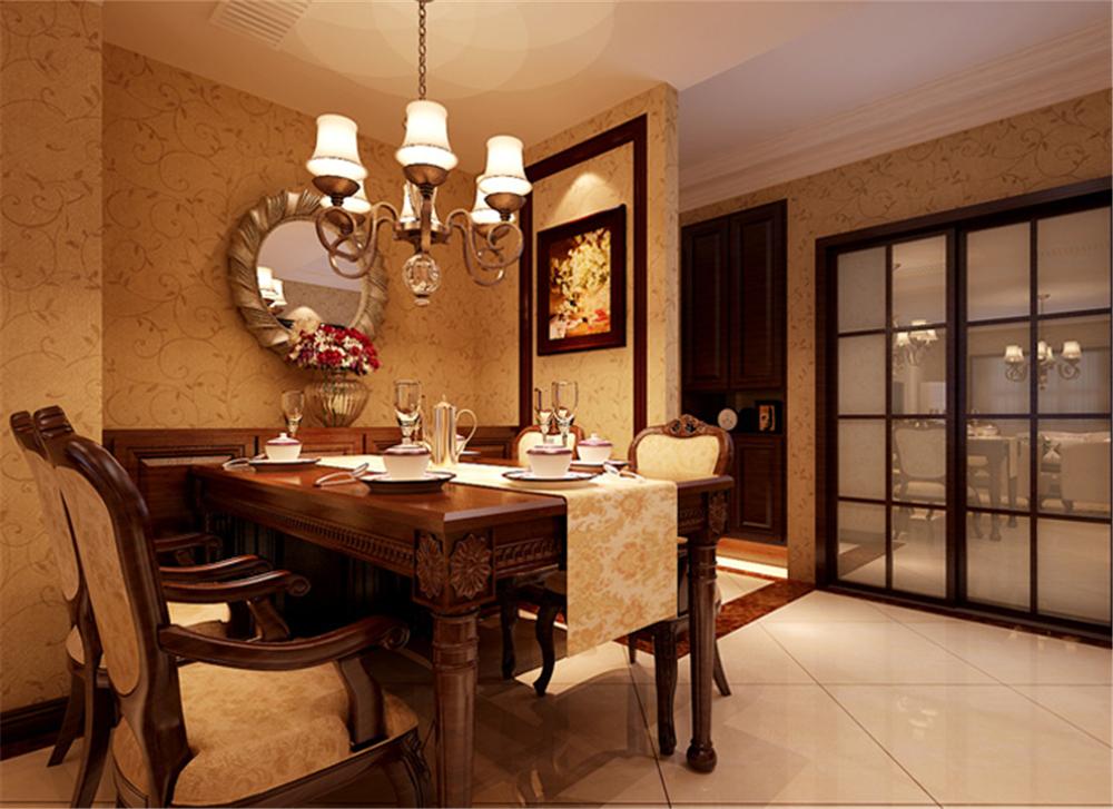 美式新古典 三居室设计 收纳 小资 餐厅图片来自上海实创-装修设计效果图在120平米高贵典雅,美式新古典的分享