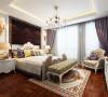深色的硬包,脚感舒适的地板,花纹典雅的床品和壁纸,造型简洁,色彩明快,使整个卧室温馨舒适,让人流连忘返。