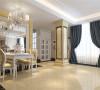 餐厅带落地窗的简约奢华餐厅并没有采用繁琐的吊顶来搭配,石材的硬度和软包的柔软的结合,餐桌与餐椅和整个餐厅背景相呼应。