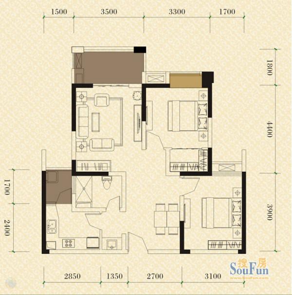 成都实创装饰—绿地世纪城86平米B3户型—现代简约风格—绿地世纪城86平米B3户型图