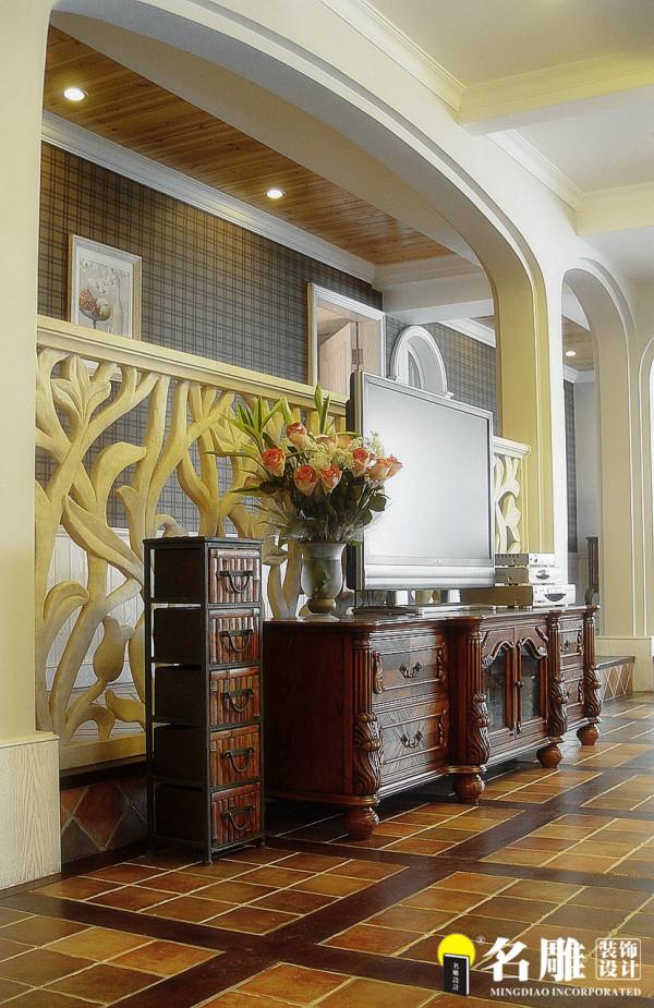 名雕装饰设计-中信红树湾三居室-地中海风格客厅电视背景墙