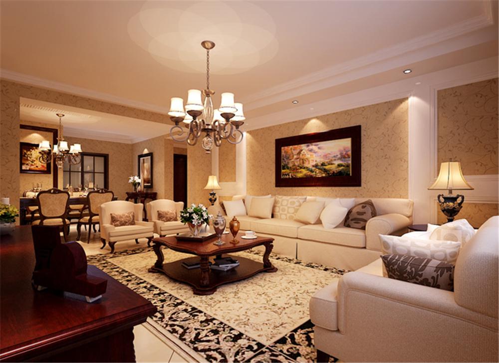 美式新古典 三居室设计 收纳 小资 客厅图片来自上海实创-装修设计效果图在120平米高贵典雅,美式新古典的分享