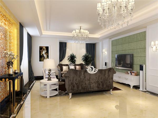 客厅奢华温馨电视背景墙和吊顶的完美结合,均采用了石膏素线,紧密相接。沙发后面的窗户给予了很好的采光效果,凸显了窗户左边背景的高贵与华丽。