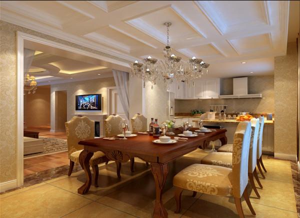 厨房采用了开放式的手法,增加了橱柜的利用率也最大化的利用了厨房的空间,为了风格的统一橱柜用白色吸塑板墙面墙砖用斜铺的仿古砖来体现述说经典。