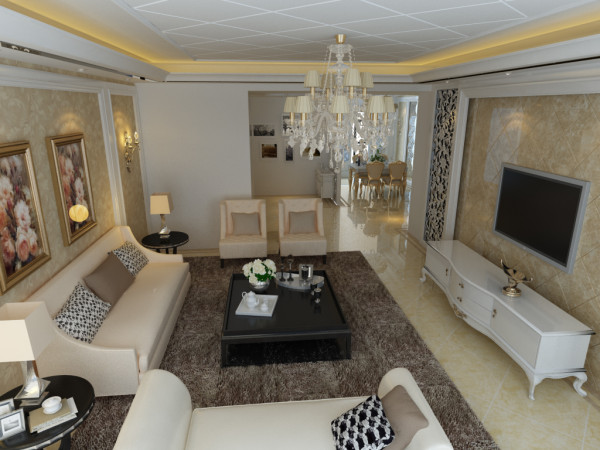 为了突显客厅的尊贵和大气,设计师以白色,金色,米黄为主色调,衬托了优雅明媚的格调,而灰色的地毯,更显室内的高贵