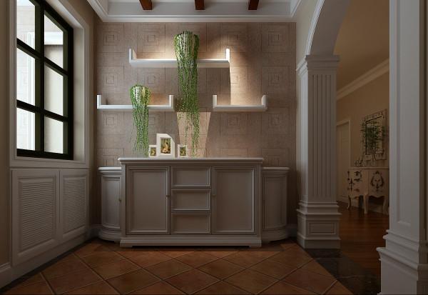 整个空间大量使用了香草色的墙漆,衬托的氛围十分温馨。入户门厅装饰柜的大小比例以及色调都控制得当,装饰柜的功能性也最大限度的满足了业主的要求。