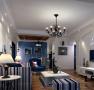 客厅以清新白色为主调,配上浪漫蓝色点缀,还有舒雅清淡的竖条纹家居,一切都是淡淡的,还是舒服安静的美好。