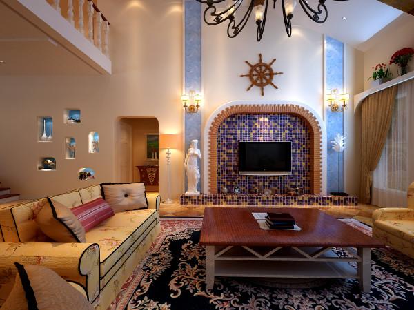 客厅背景墙和整个空间相互结合,是整个房间最有特色的地方。