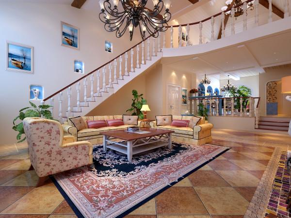 客厅蓝白为主色调,不要过多累赘复杂的造型,体现了主人的内蕴品性。浅黄色的乳胶漆再配以高贵典雅的古铜色吊灯,将整个房间的贵族气质显现得淋漓尽至。