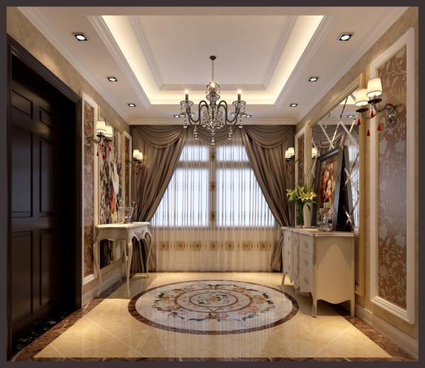此户型拥有独立的入户花厅,地面的圆形拼花与顶面吊顶相呼应,墙面则利用菱形镜面做视觉反差空间,使整个门厅在视觉上空间得到增大。