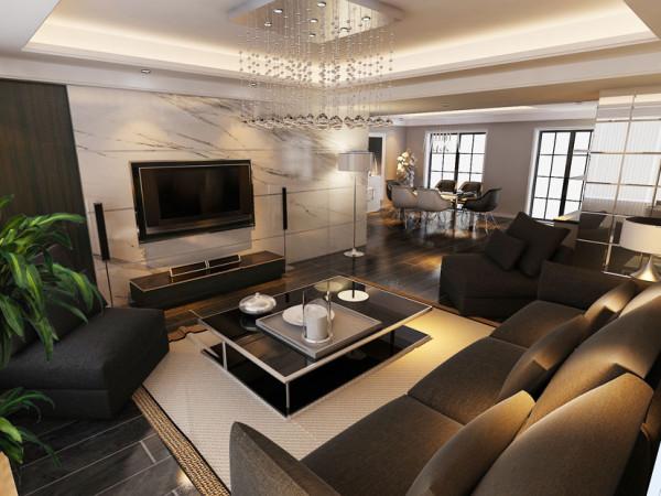 以白色为主的色调的客厅加上温馨自然的地板的色调,主题墙以石材的结合黑白色的布艺沙发。空间更加的体现尊贵。