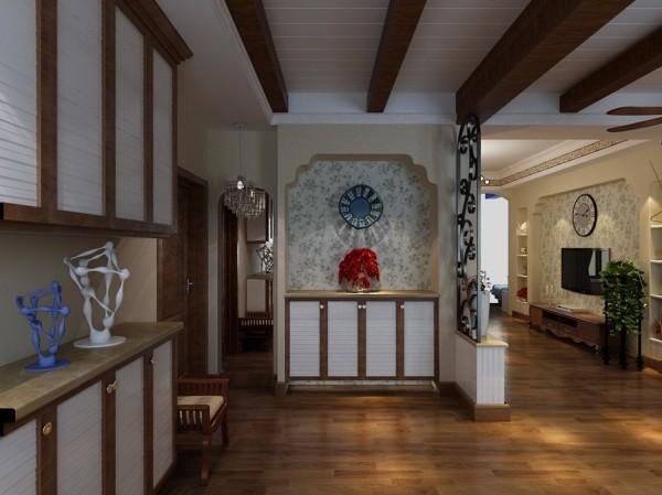 玄关的设计 一面端景墙,搭配东南亚风格的吊顶,整个空间比较有品质。