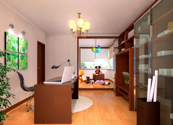 客厅在原户型的顶部做了局部造型吊顶,并在装饰上做了精心的布置。卧室地面选用偏于中性色的木地板、儿童房两房间的居室功能,最内侧房间改为书房,阳台改做儿童玩具间
