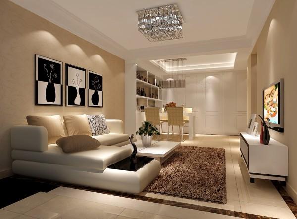 在功能格局方面,客厅作为待客的场所,已定要体现主人的气质。在这个方案中,简单的双层石膏板,装饰顶面,大方,舒适,不繁琐,电视背景墙采用利用暖色的墙漆,以及射灯的照明,生活氛围非常舒适。