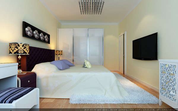 卧室的背景墙和台灯与客厅沙发背景墙简洁又不失端庄的造型、浪漫的线帘将整个房间的贵族贵族气质显现的淋漓尽致。