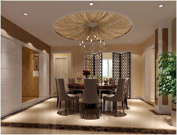 餐厅的功能置放于原来的中厅的位置,原有中厅的位置相对比较浪费,故将餐厅设计在此处,合理的把各个空间都能合理利用。