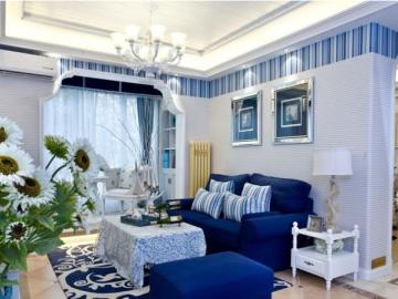 地中海-93.22平米二居室装修设计