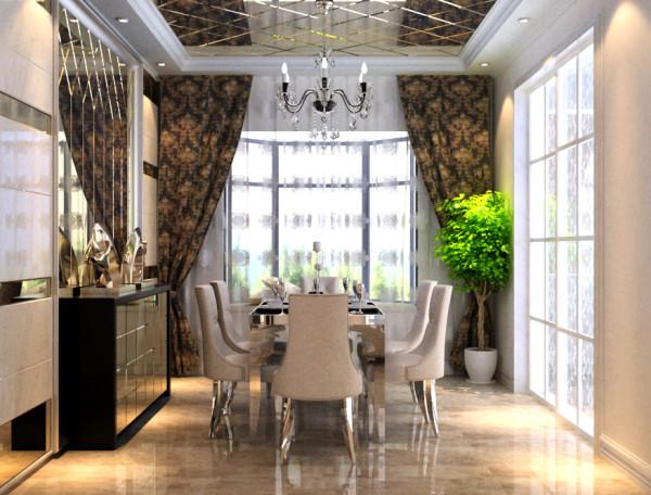 利用厨房对称的墙面做出菱形四边倒角镜,两边树立欧式罗马柱,错落有致的酒柜无疑是餐厅的一大亮点。