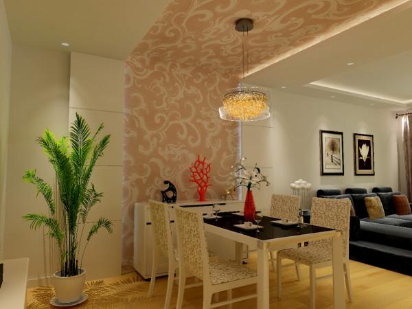 餐厅背景与墙的装饰处理,使进门处本已纵深感很强的客厅,增加了横向的延伸感,诠释了空间的层次,使视觉更加充盈丰满
