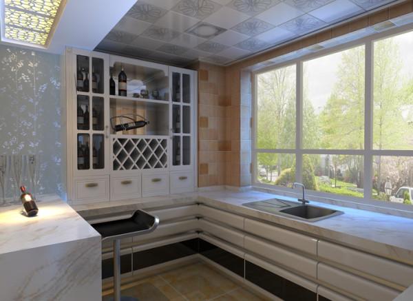 设计理念:开放式厨房的目的就是为了增加空间感,让房间的视野变得开阔。同时让主人在施展厨艺的时候有更多的使用空间。 亮点:酒柜和吧台的设计让开放式的厨房与旁边的餐厅融为一体。