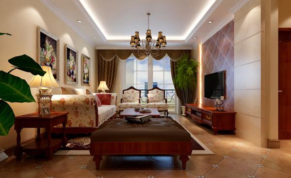 客厅作为待客区域,要求简洁明快不失大气,同时装修较其它空间要更明快光鲜,不要过多累赘复杂的造型,体现了主人的内蕴品性。电视背景墙用仿古瓷砖的材质,加以菱形铺贴的手法,使得美式乡村的感觉尤为浓郁。