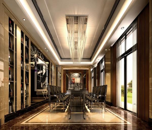在造型上,采用了现代简洁的造型,使得空间更加的生动、活泼;在材质上,采用了黑色镜烤和水晶吊灯的对比,造型与材质的对比和冲突演绎出时尚新古典的氛围。