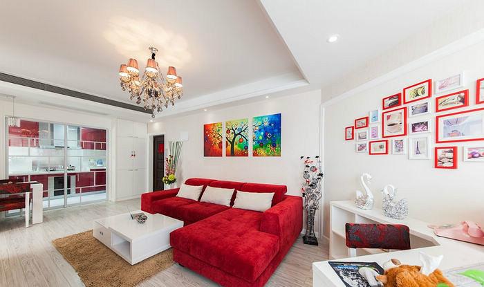 两居 现代简约 红色 婚房 80后 客厅图片来自张顺在典雅喜庆婚房鉴赏的分享