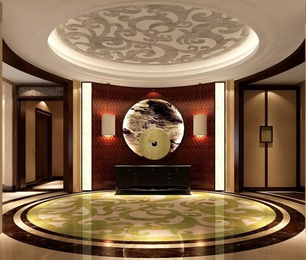 极具代表性的苏州园林符号语言,使这个普通空间彰显不平凡的一面..客厅整体家具既有现代简约的沙发,又有传统古典的明式家具,在家具设计上也不忘为新中式添以这厚重的一笔.主卧传统纹样的白地毯,仿古台灯。