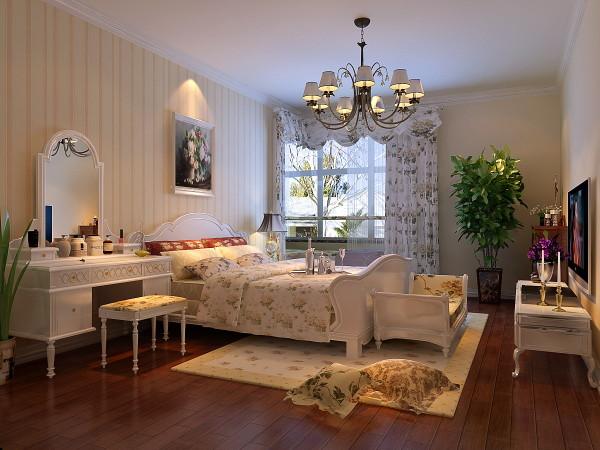 卧室 有米黄色竖纹壁纸 卧室简洁大方,欧式壁纸搭配欧式家具,闲的房间非常温馨