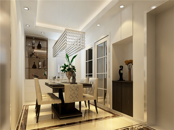 设计理念:餐厅的空间讲究对称且划分简单合理,给了主人们更充裕的自由活动空间,搭配绿植,家庭氛围更加愉悦。 亮点:餐厅酒柜简约大气,兼具收纳和装饰功能。