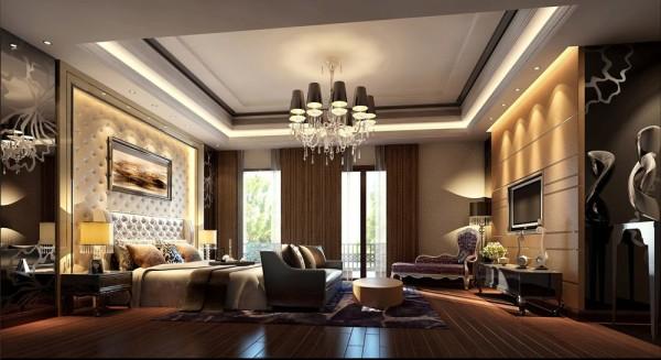 主卧没有刻意的堆砌,层次丰富的墙面具有很好的立体感和一体感;深色的地板包覆着浅色的软装,在光线不足的时候也能保持良好的光感,不会压抑内心。