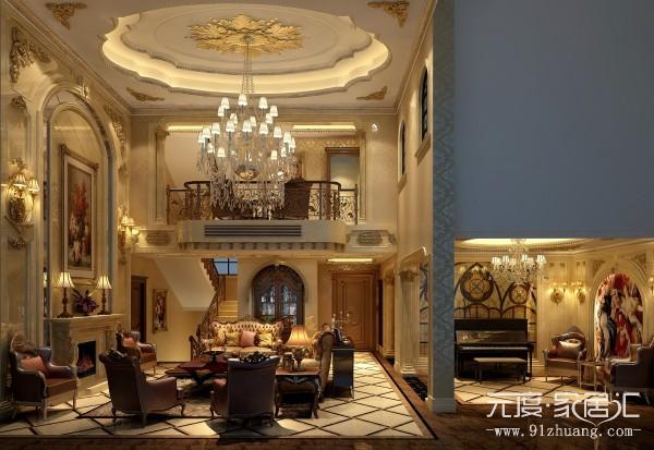 厚重的家具,从侧面体现出房子的主人,事业有成,巨型灯池,硕大枝形吊灯,还有巨幅背景墙,我想这是最吸引眼球的。