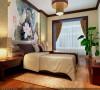 主卧室是年轻人在使用,在色彩方面秉承了传统古典风格的典雅和华贵,但与之不同的是加入了很多现代的元素,呈现着时尚的特征。
