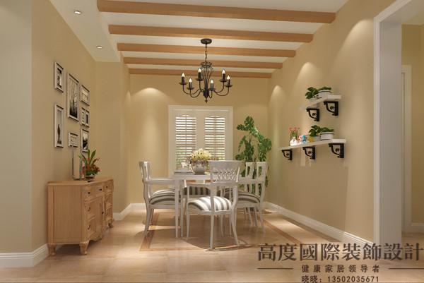 用餐的地方不需要太复杂的修饰,家具的洗白处理能使家具呈现出古典美,而椅脚被简化的卷曲弧线及精美的纹饰也是法式优雅乡村生活的体现,营造了一个舒适、温馨的空间。