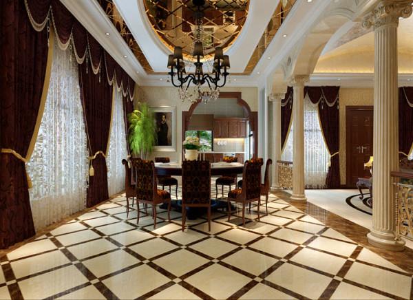 餐厅与厨房结为一体,开放式厨房的门。餐厅顶面的镜子反射出丰盛的食物,高高的吊灯开启之际将是主人最美好的晚餐时间