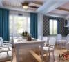 餐厅的主色调是蓝色的哦,搭配充满生活气息的白色调餐桌,安静静谧的格调你喜欢吗?