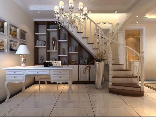 楼梯一角做敞开式书房