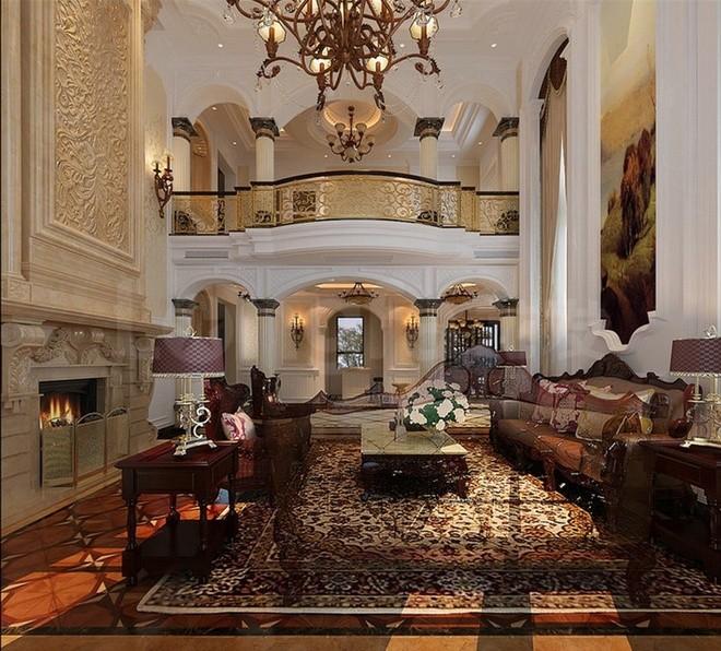 原河名墅欧式古典装修设计案例,客厅整体效果图展示