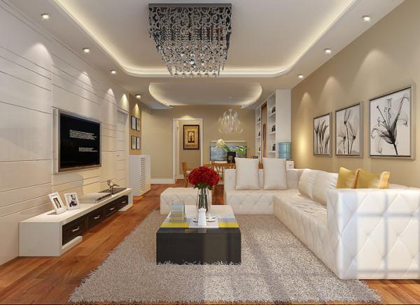 客户喜欢客厅具有简约、时尚、舒适而且干净的环境、在设计中运用了大面积背景墙和沙发做主体色显得干净不凌乱。亮点:从客厅阳台一眼看过去整体空间比较协调而且亮堂。